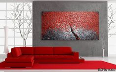 Large Painting on Canvas 72 x 36 Red Art Cherry by acrylkreativ