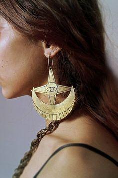 ON SALE Moon and star earrings by SANKTOLEONOJEWELRY on Etsy