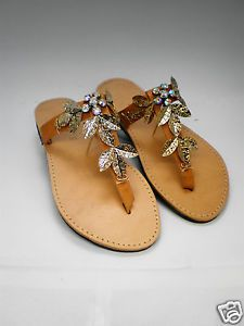 Handmade genuine leather sandals with gold leaf and strass