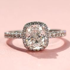 1.9 CT Cushion Cut Women's Engagement Ring 925 Sterling Silver Platinum Plated CZ Ring