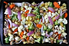 One-Pan Roasted Vegetables and Chickpeas with Olive Oil and Herbs. Good every time!!