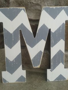 Pottery barn style Chevron letters, Bridesmaids gifts, Wedding gifts, Custom distressed wood letters for home decor - in wood letters