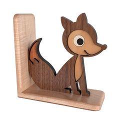 Fox sujetalibros de madera Animal reliquia: por graphicspaceswood