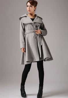 **Detail**  *wool blend, Full lined with Polyester  *Double folded collar  *Self-tie waist  *Long sleeves  *Button-front closure  *Long sleeve  *Hip