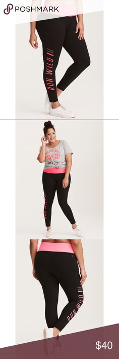"""NWT Torrid Active Run Wild Leggings Who says workout wear can't be killer fashion? We say look hot and move with comfort no matter what. Sexy. Edgy. Go for it. Torrid Active - performance with attitude.   Because why run for exercise if you can't """"run wild""""? These leggings get it. The 4-way stretch fabric style is sleek in black but electric with a neon pink waistband. Flat seams enable movement, while wicking technology keeps you cool and dry. Hidden pocket at waistband. 27"""" inseam…"""