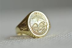 Sterling silver, School Ring, Class Ring,Graduation Ring, Gold signet ring,Coat of Arms, Signet Valentines Day, Christmas Gift