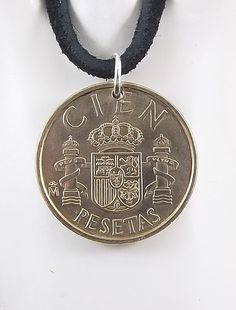 1983 Spanish Coin Necklace 100 Pesetas Coin by AutumnWindsJewelry Coin Jewelry, Coin Necklace, Leather Cord, Black Leather, Coin Pendant, Ball Chain, Pocket Watch, Coins, My Etsy Shop