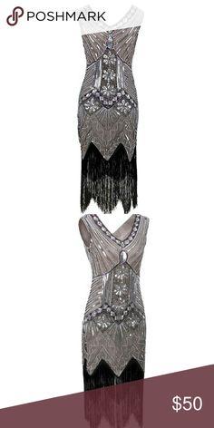 1920's inspired dress Women 1920s Gastby Sequin Art Nouveau Embellished Fringed Flapper Dress fits like size 12 worn once Dresses