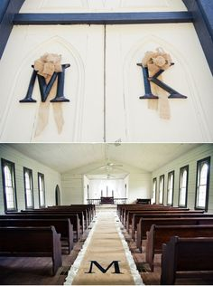 LOVE, burlap ♥  Our monogrammed aisle runner as featured in Katie and Marcus' rustic Louisiana wedding via A Paper Proposal. ♥ www.loveburlap.com
