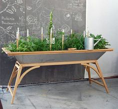 Build your own salad table!  Home grown salads all summer long ~ would work for herbs too :)