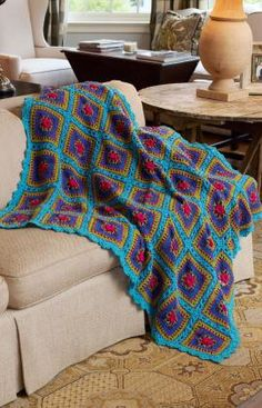 Festive Squares Throw Crochet Pattern - free from Red Heart