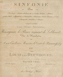 Beethoven -Portada de la Quinta sinfonía, perteneciente a la primera edición de Breitkopf und Härtel.