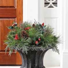 Mixed Pine & Berry Planter Insert   - Ballard Designs