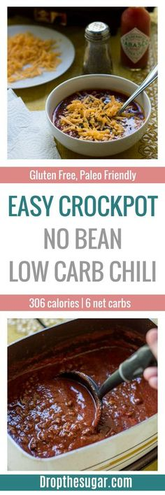 Easy Crockpot No Bean Low Carb Chili | a deliciously thick low carb chili recipe that is easy to make. This makes for a delicious low carb lunch idea or even for a low carb dinner! Plus, it only has 6 net carbs per one cup serving. Pin now to make later! via @dropthesugar