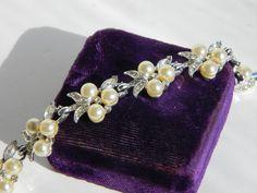 vintage rhinestone pearl bracelet marvella pearl by LushCouture, $65.00