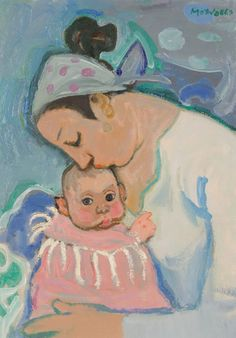 """Mother and Child (Annalisa), 1962, oil on canvas, 37""""x28"""""""