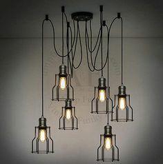 Industrial Loft 6 Wire Cage Chandelier Pendant Ceiling Light Retro Rustic Edison   eBay - $260