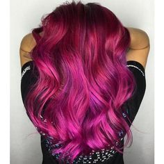 20 Unboring Styles with Magenta Hair Color ❤ liked on Polyvore featuring beauty products and haircare