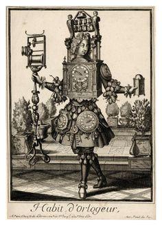 1600s Parisian artist Nicolas de Larmessin II : caricatures of people flamboyantly garbed as their professions