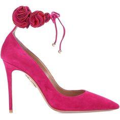 Aquazzura Desert Rose 105 Suede Pumps (47.815 RUB) ❤ liked on Polyvore featuring shoes, pumps, aquazzura shoes, suede leather shoes, suede pumps, aquazzura pumps and pink suede shoes