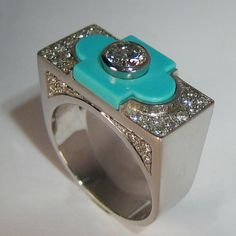 Art Deco Ring, White Gold 18 Carats, with Brilliants and Turquoise. - ALL HAND MADE -