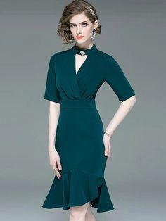 Chic Green V-Neck Tight Half Sleeve Bodycon Mermaid Dress