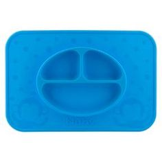 Nubby LG: Silicone material for quality and durability. Placemat suctions to flat surface for non-moveable plate. Top rack dishwasher safe for easy cleanup.  Keep his dinner plate on the table with the Nuby LG. Silicone Sectioned feeding placemat - Blue. This toddler plate is fun to use; take it anywhere you go by simply  throwing it in the diaper bag.