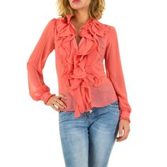 14,99 € - Diese elegante Bluse mit Volants ist Alltags- und bürotauglich in der Farbe Coral.