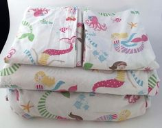 Pottery Barn Kids Mermaid Queen Sheet Set 4pc Fitted Flat 2 Pillowcases #potterybarnkids
