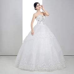 Ball Gown Sweetheart Floor-length Wedding Dress (Lace/Organza/Charmeuse) – USD $ 179.99