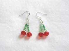 New summer juicy red cherry crystal earrings