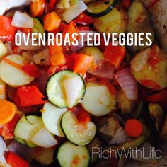 The Best Oven Roasted Veggies Ever!! Cut them all up, toss them in a pot, drench in olive oil and seasonings, and throw it in the oven for an hour! The secret? Tomatoes! And olive oil! Lots and lots of olive oil. Super gastroparesis friendly. Gluten Free, Dairy Free, Sugar Free, Vegan, Paleo.