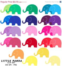 60% OFF SALE Rainbow Elephant Digital Clip Art - Personal and Commercial Use - Instant Download - C51 on Etsy, $1.50