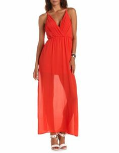 pleated bust chiffon maxi dress
