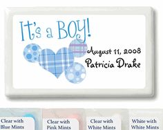 It's a Boy Festive Personalized Mint Favors! (Also available in different designs!)