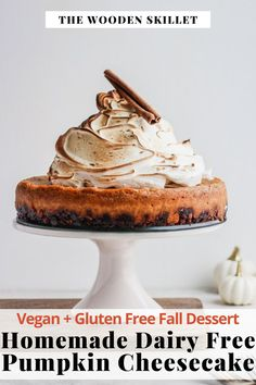 A deliciously creamy pumpkin pie cheesecake recipe that is homemade, dairy-free, vegan and gluten-free option for Thanksgiving dessert! This cheesecake has a made from scratch granola crust and fall flavored filling. This recipe is easy to make and will wow your next crowd. #BakedPumpkinPieCheesecake #DairyFreeCheesecake #TheWoodenSkillet
