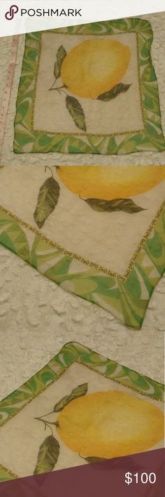 """D&G printed silk scarf Lively lemon scarf! Green, yellow, white. It is a bit sheer. Very soft. Designer silk. Screen printed. Perfect little pop of color. 20"""" by 20"""". FGWP. Dolce & Gabbana Accessories Scarves & Wraps"""