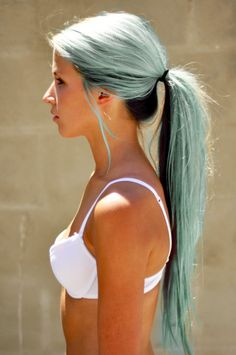 Light blue hair with black undertone. I dunno why, but I absolutely love this... but, it's one of those things where this will never happen.