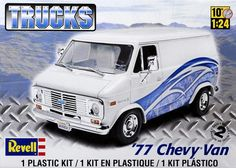 Chevrolet Van, Chevy Van, Plastic Model Kits, Plastic Models, Kit Cars, Car Kits, Revell Monogram, Custom Vans, Vintage Models