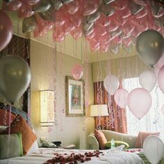 Somebody better do this while I'm sleeping the night before my wedding so when I wake up it is to a view of a ceiling full of balloons