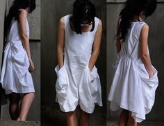 White dress linen dress balck dress by yuan123 on Etsy