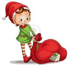 Illustrazione di un elfo di Natale Archivio Fotografico - 13800576