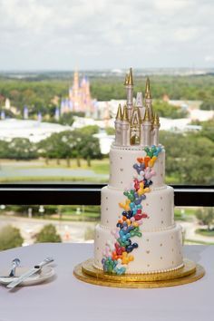 Meagan's favorite memory of her wedding day is seeing her cake, with its castle cake topper, and then Magic Kingdom's Cinderella Castle just beyond it through the windows at California Grill! Wedding Cake Prices, Wedding Cakes, Mad Hatter Wedding, California Grill, Blackberry Cake, Like Chocolate, Chocolate Cake, Cinderella Castle, Mini Cakes