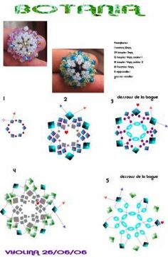 A pattern for pendant, brooche or ring Botania by Vyolina. Beading Patterns Free, Beaded Jewelry Patterns, Beading Tutorials, Free Pattern, Bead Crafts, Jewelry Crafts, Handmade Jewelry, Bead Jewellery, Jewellery Making