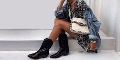 ¡Sin dudarlo! Cowboy Boot Outfits, Cowboy Boots, Boho Chic, Kimono Top, Tops, Women, Style, Fashion, Denim Blazer