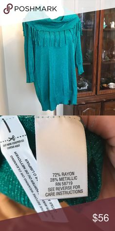 {Studio Works} Metallic cowlneck & fringe sweater NWT. Gorgeous green metallic sweater from Studio Works. Features Fringe details, ribbed trim, and 3/4-length sleeves. Size 2X. Please note color may vary due to lighting. This reminds me of a Kelly green color (you can see it is a bit darker in the second photo that is close up). Studio Works Sweaters Cowl & Turtlenecks