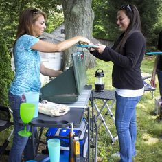 Portable Slim-Fold Cook Station Easy Open And Close Storage Rack 4 Plastic Fold Camping Table, Camping Stove, Camping Gear, Outdoor Food, Outdoor Camping, Wire Storage Racks, Grill Station, Outdoor Brands, Outdoor Parties