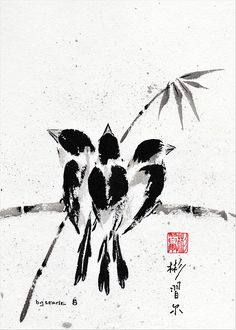 """""""Belonging"""", Spontaneous (Xie Yi) style Chinese brush painting on rice paper by bgsearle."""