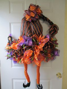 Large Deco Mesh Witch Hat with Legs Door Hanging Halloween Door Decorations, Halloween Porch, Halloween Wreaths, Holiday Wreaths, Thanksgiving Decorations, Holidays Halloween, Halloween Crafts, Happy Halloween, Holiday Crafts