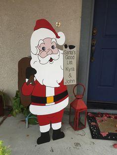 Santa and Good List Outdoor Wood Decoration